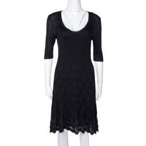 M Missoni Black Zig Zag Textured Knit A Line Dress L