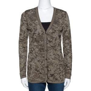 M Missoni Black & Gold Lurex Knit Button Front Cardigan M