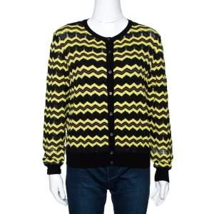 M Missoni Yellow Zigzag Knit Button Front Cardigan L