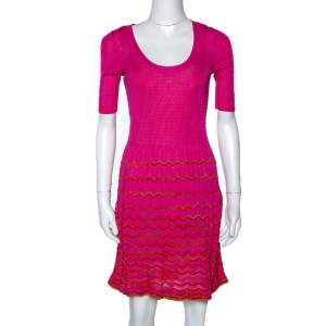 M Missoni Pink Knit Scoop Neck Skater Dress S