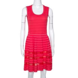M Missoni Pink Knit Sleeveless Paneled A Line Dress M