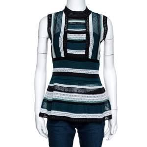 M Missoni Teal Striped Knit Sleeveless Peplum Top S