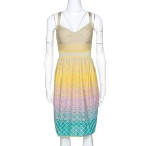 M Missoni Multicolor Ombre Textured Lurex Knit Sleeveless Dress S