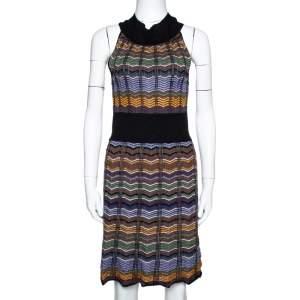 M Missoni Multicolor Zip Zag Merino Wool Blend Knit Sleeveless Dress M