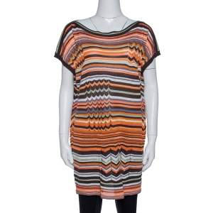 M Missoni Orange & Brown Striped Pointelle Knit Tunic Top M