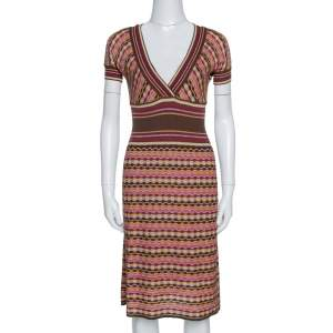 M Missoni Brown Lurex Wool Blend Knit Fit & Flare Dress M