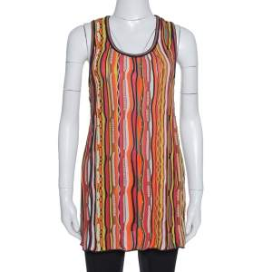 M Missoni Multicolor Striped Rib Knit Sleeveless Top L