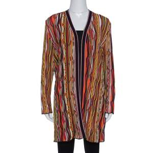 M Missoni Multicolor Striped Rib Knit Open Front Cardigan L