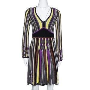 M Missoni Grey Striped Rib Knit Knee Length Dress M