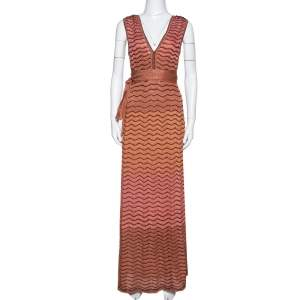 M Missoni Pink Ombre Lurex Wavy Knit Maxi Dress XS