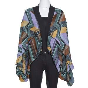 M Missoni Multicolor Lurex Zig Zag Knit Circle Cardigan (One Size)