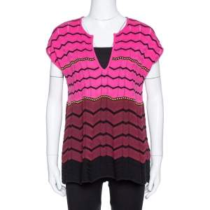 M Missoni Pink Zig Zag Knit Flared Top M