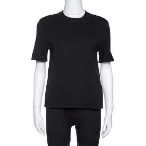 M Missoni Black Textured Knit Crew Neck Top S