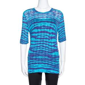 M Missoni Blue Animal Pattern Wool Blend Knit Top M