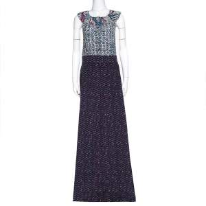 M Missoni Purple Printed Silk & Corduroy Sleeveless Maxi Dress L