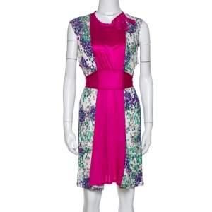 M Missoni Magenta Printed Jersey Tie Back Sleeveless Dress L