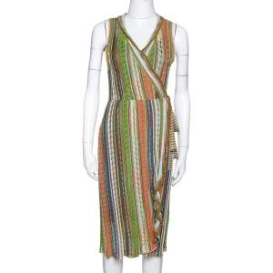 M Missoni Green Striped Pointelle Knit Ruffled Wrap Dress M