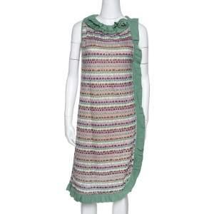 M Missoni Sage Green Wool Knit Ruffled Shift Dress M