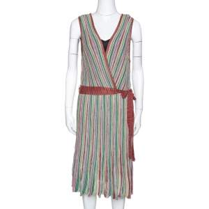 M Missoni Multicolor Striped Rib Knit Sleeveless Belted Dress L