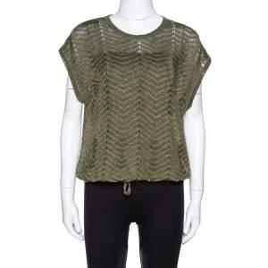 M Missoni Green Lurex Knit Hem Tie Detail Sleeveless Top S