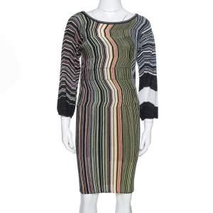 M Missoni Black Striped Wool Knit Fitted Dress S