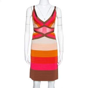 M Missoni Multicolor Colorblock Knit Fitted Dress L