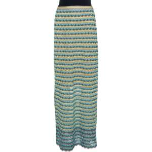 M Missoni Grey Scalloped Textured Knit Maxi Skirt S