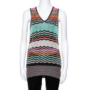 M Missoni Multicolor Lurex Knit Chevron Striped Sleeveless Top M