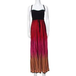 M Missoni Multicolor Striped Knit Back Cutout Tie Detail Sleeveless Dress L