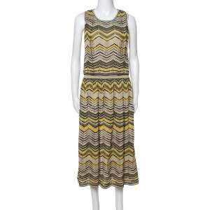 M Missoni Pale Yellow Lurex Chevron Knit Sleeveless Dress M