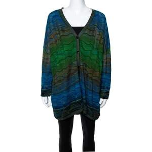 M Missoni Blue Wavy Textured Knit Button Front Cardigan M