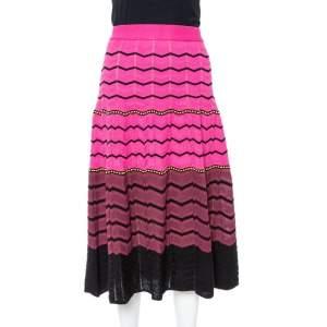 M Missoni Pink Zig Zag Knit A-Line Skirt L