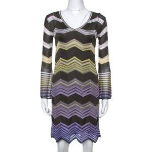 M Missoni Grey & Purple Chevron Crochet Knit Long Sleeve Dress S