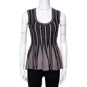 M Missoni Black Lurex Ribbed Knit Peplum Top S