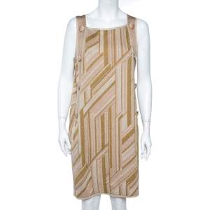 M Missoni Metallic  Zig Zag Pattern Knit Sleeveless Midi Dress L
