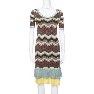 M Missoni Multicolor Cotton Knit Scoop Neck Skater Dress M