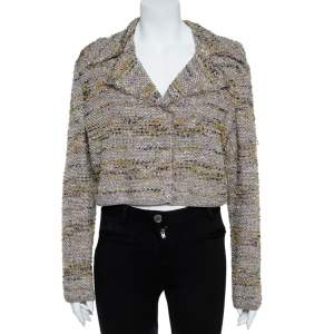 M Missoni Multicolor Tweed Cropped Blazer L