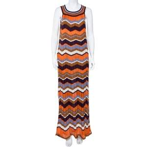 M Missoni Multicolor Zig Zag Pattern Perforated Knit Sleeveless Dress L