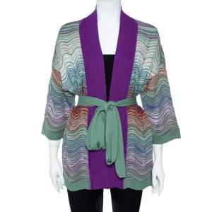 M Missoni Purple Wool Blend Pointelle Knit Belted Cardigan M