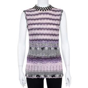 M Missoni Purple Chevron Knit Tie Up Top and Cardigan Set L