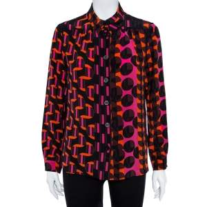 M Missoni Multicolor Geo Print Crepe de chine Silk Shirt L