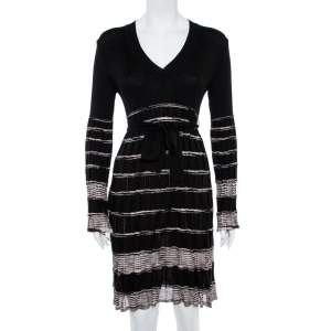 M Missoni Black Patterned Knit Wool Belted Dress M
