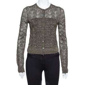 M Missoni Black Lurex Knit Cropped Cardigan S
