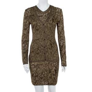 M Missoni Gold Lurex Knit Cardigan & Midi Dress Set S