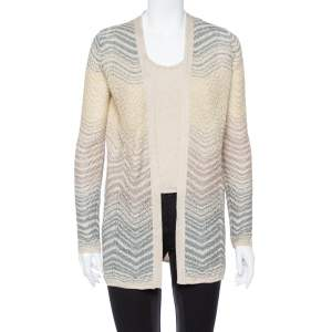 M Missoni Gold Lurex Knit Top & Open Front Cardigan Set S