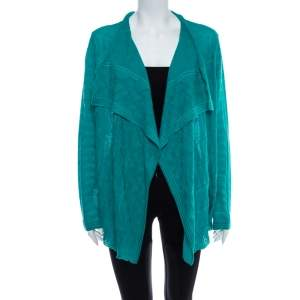 M Missoni Aqua Green Knit Waterfall Collar Open Front Cardigan S