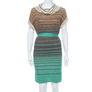 M Missoni Multicolor Striped Knit Turtleneck Belted Dress S
