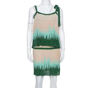M Missoni Beige & Green Lurex Knit Overlay Detail Short Dress S