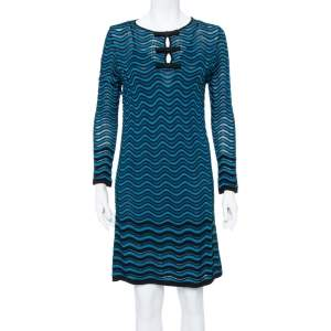 M Missoni Blue Wave Knit Bow Detail Short Dress M