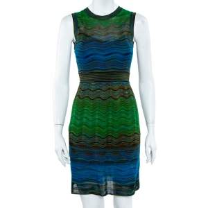 M Missoni Multicolor Wave Knit Sleeveless Flared Midi Dress S